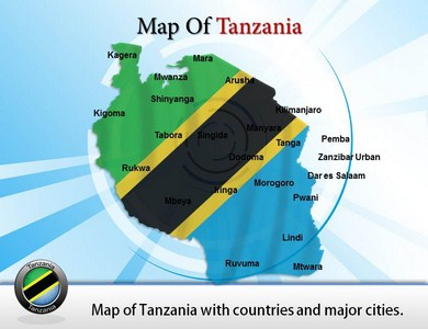 Map of Tanzania Powerpoint Templates