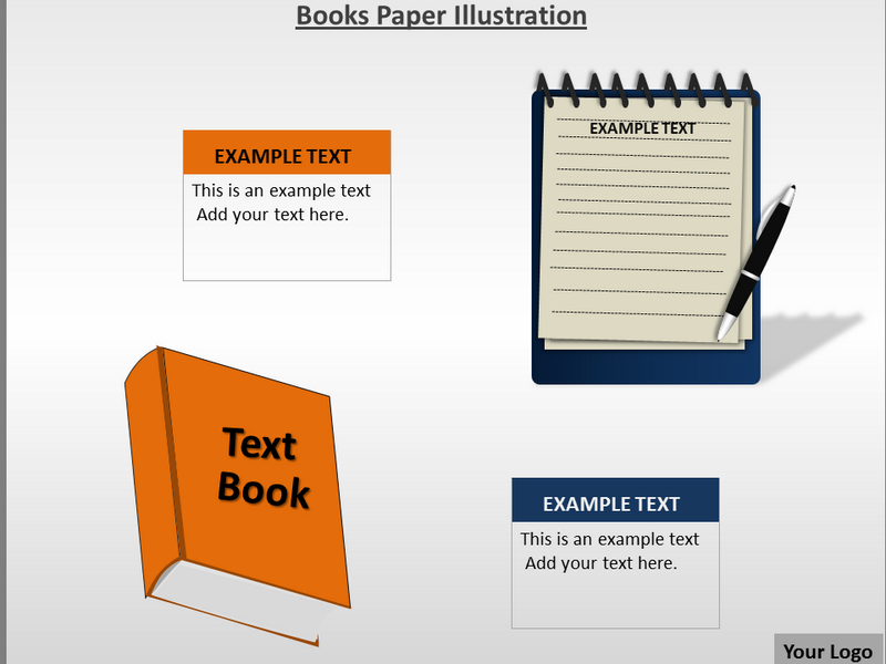 Books Paper Illustration Powerpoint Template Books Paper