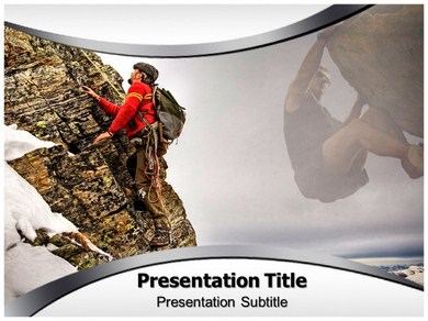 Rock Climber Route Powerpoint Templates