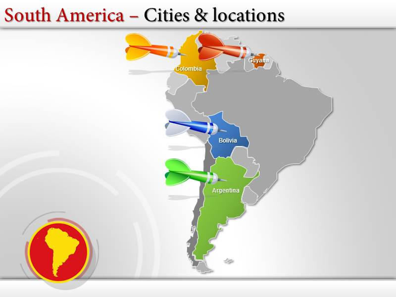 map of south america with capitals powerpoint ppt templates