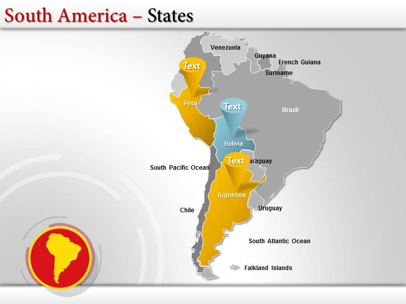 Map of south america with capitals powerpointppttemplates download toneelgroepblik Choice Image