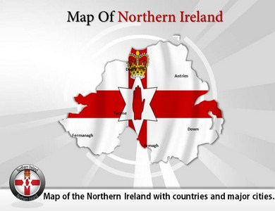 Map of Northern Ireland  PowerPoint Templates