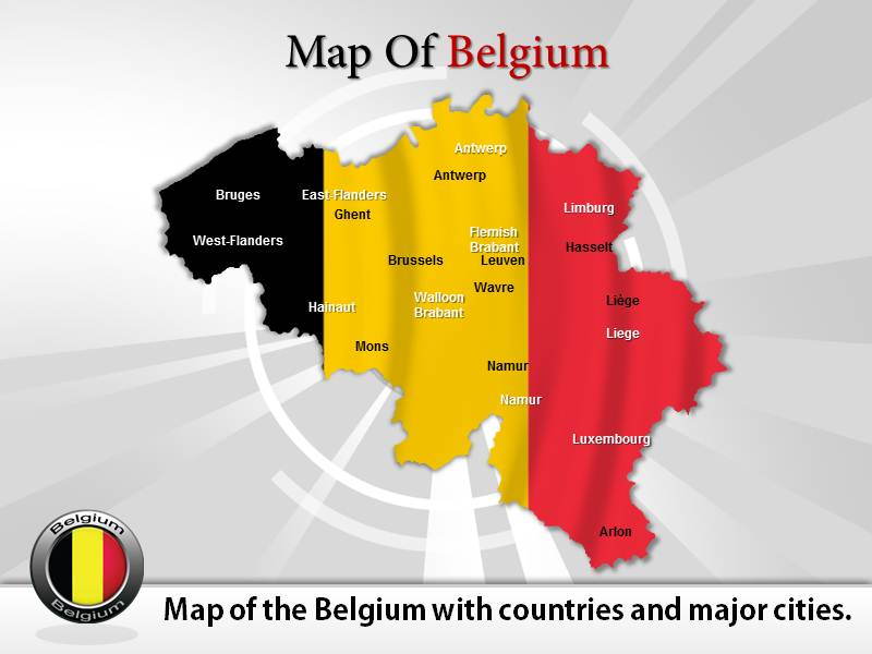 Map of Belgium  PowerPoint Templates