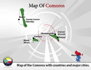 Map of Comoros  PowerPoint Templates