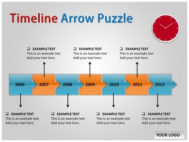 Timeline Arrow Puzzle Powerpoint Templates