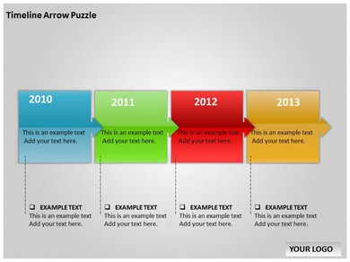 Timeline Arrow Puzzle Chart Powerpoint Templates