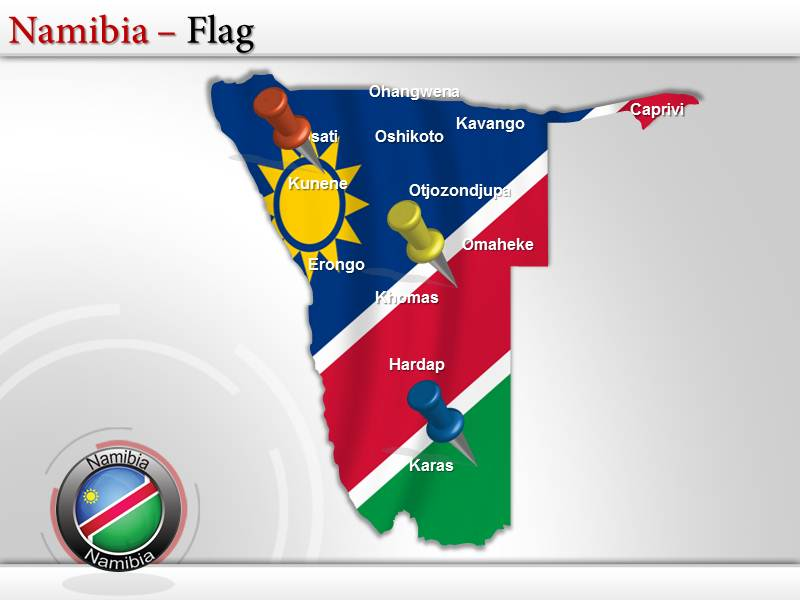 Map of Namibia  PowerPoint Templates