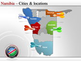 Map of Namibia  powerpoint template download
