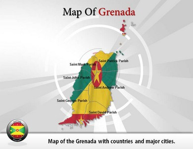 Map of Grenada  PowerPoint Templates