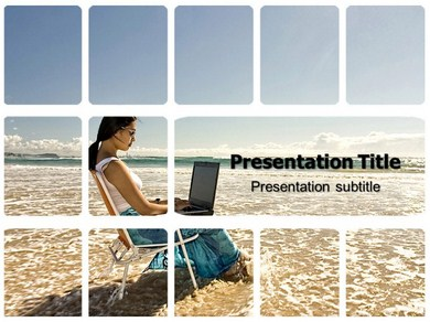 Women with Laptop Powerpoint Templates