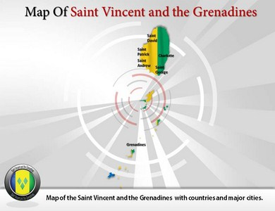 Map of Saint Vincent and the Grenadines  PowerPoint Templates