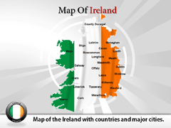 Detailed  Of Ireland PowerPoint map