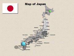 Of Japan Cities PowerPoint map