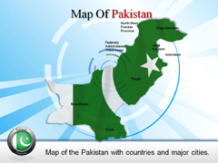 Complete  Of Pakistan With cities PowerPoint map