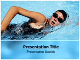 Human swimming PowerPoint Template
