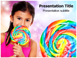 Girl With Candy Bars PowerPoint Templates