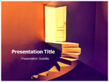 Stairs to Door Powerpoint Templates