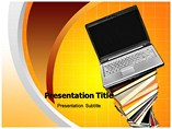 Laptop and books PowerPoint Templates