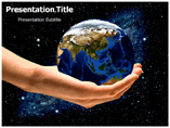 Earth in hand powerpoint template