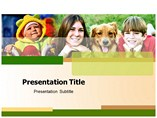 Kids And Dog powerpoint template