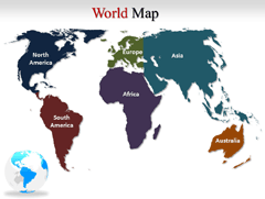 Colorful Geographical World PowerPoint map