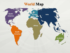 World  Continents Outline PowerPoint map