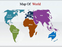 World  Continents PowerPoint map