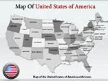 USA Map With Icons PowerPoint Templates