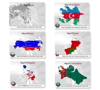 Bundle Of Asia Maps powerpoint templates