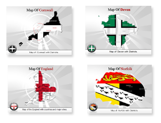 Bundle Of England Maps powerpoint templates