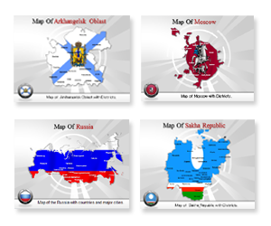 Bundle Of Russia Maps powerpoint templates