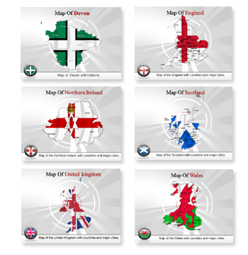 Bundle Of United Kingdom Maps powerpoint templates