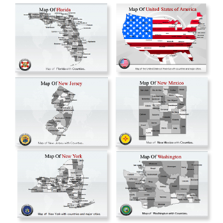 Bundle of United States Maps  Maps powerpoint templates
