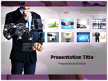 Photo On Interactive Monitor  PowerPoint Template