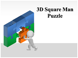 3D Square Man Puzzle PowerPoint Template
