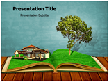 Magic Book with a Landscape  PowerPoint Template