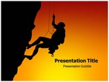 Silhouette Of Rock Climber Templates powerpoint templates