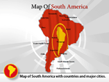Map of South America with Capitals PPT Templates