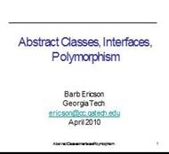 Abstract Classes, Interfaces, Polymorphism powerpoint presentation
