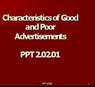 Characteristics of Good and PoorAdvertisements powerpoint presentation