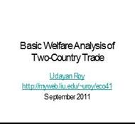 Basic Welfare Analysis of  Two-Country Trade powerpoint presentation