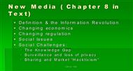 New Media ( Chapter 8 in Text) powerpoint presentation