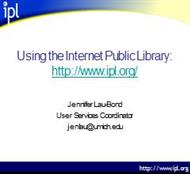Using the Internet Public Library: powerpoint presentation