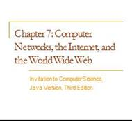 Computer Networks, the Internet, and the World Wide Web powerpoint presentation