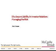 Disclosure Liability in Investor Relations: Managing the Risk powerpoint presentation