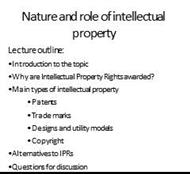 Nature and role of intellectual property powerpoint presentation