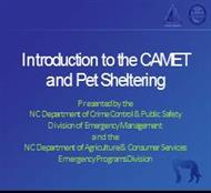 Introduction to the CAMET and Pet Sheltering powerpoint presentation