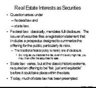 Real Estate Interests as Securities powerpoint presentation
