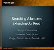 Recruiting Volunteers:  Extending Our Reach powerpoint presentation
