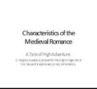 Characteristics of the Medieval Romance powerpoint presentation
